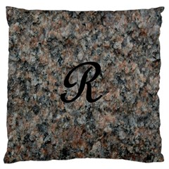 Pink And Black Mica Letter R Large Cushion Case (single Sided)