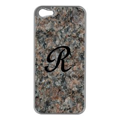 Pink And Black Mica Letter R Apple Iphone 5 Case (silver)