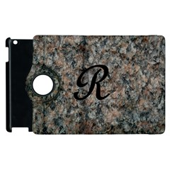 Pink And Black Mica Letter R Apple iPad 2 Flip 360 Case