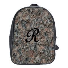 Pink And Black Mica Letter R School Bag (XL)