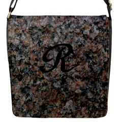 Pink And Black Mica Letter R Flap Closure Messenger Bag (small)