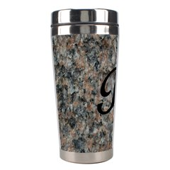 Pink And Black Mica Letter R Stainless Steel Travel Tumbler