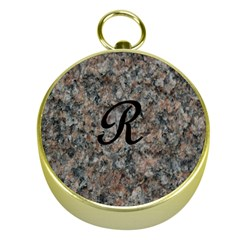 Pink And Black Mica Letter R Gold Compass