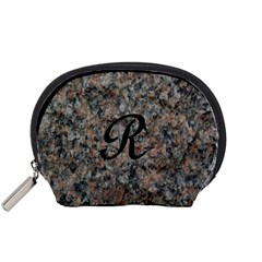 Pink And Black Mica Letter R Accessories Pouch (Small)