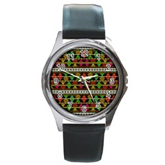 Aztec Style Pattern Round Leather Watch (Silver Rim)