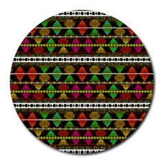 Aztec Style Pattern 8  Mouse Pad (Round)