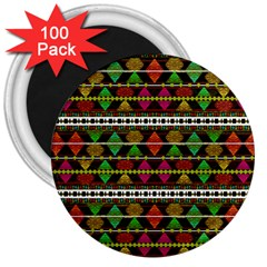Aztec Style Pattern 3  Button Magnet (100 pack)