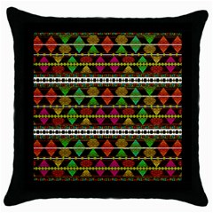 Aztec Style Pattern Black Throw Pillow Case