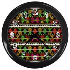 Aztec Style Pattern Wall Clock (Black)
