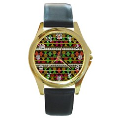 Aztec Style Pattern Round Leather Watch (Gold Rim)