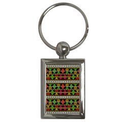 Aztec Style Pattern Key Chain (rectangle)