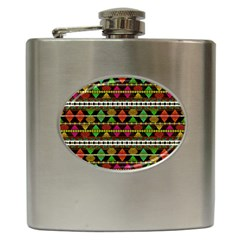 Aztec Style Pattern Hip Flask