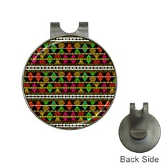Aztec Style Pattern Hat Clip With Golf Ball Marker