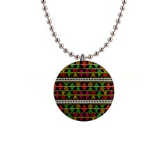 Aztec Style Pattern Button Necklace