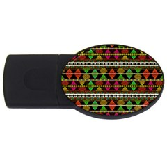 Aztec Style Pattern 4gb Usb Flash Drive (oval)