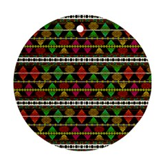 Aztec Style Pattern Round Ornament (two Sides)