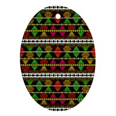 Aztec Style Pattern Oval Ornament (Two Sides)