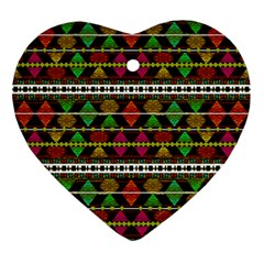 Aztec Style Pattern Heart Ornament (Two Sides)