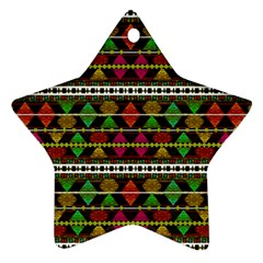 Aztec Style Pattern Star Ornament (Two Sides)