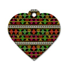 Aztec Style Pattern Dog Tag Heart (Two Sided)
