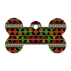 Aztec Style Pattern Dog Tag Bone (two Sided)