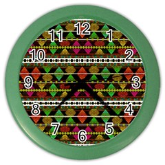 Aztec Style Pattern Wall Clock (Color)
