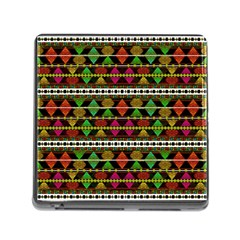 Aztec Style Pattern Memory Card Reader with Storage (Square)