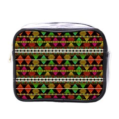 Aztec Style Pattern Mini Travel Toiletry Bag (one Side)
