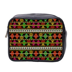 Aztec Style Pattern Mini Travel Toiletry Bag (two Sides)
