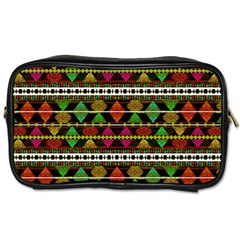 Aztec Style Pattern Travel Toiletry Bag (Two Sides)
