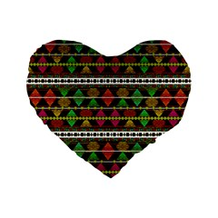 Aztec Style Pattern 16  Premium Heart Shape Cushion