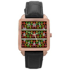Aztec Style Pattern Rose Gold Leather Watch