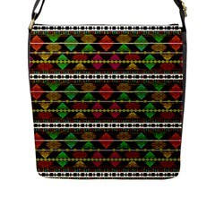 Aztec Style Pattern Flap Closure Messenger Bag (large)