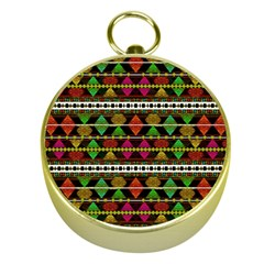 Aztec Style Pattern Gold Compass