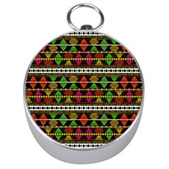 Aztec Style Pattern Silver Compass