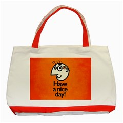 Have A Nice Day Happy Character Classic Tote Bag (Red)