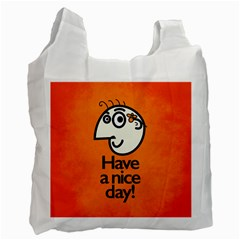 Have A Nice Day Happy Character White Reusable Bag (One Side)