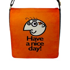 Have A Nice Day Happy Character Flap Closure Messenger Bag (Large)