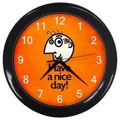 Have A Nice Day Happy Character Wall Clock (Black)