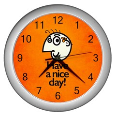 Have A Nice Day Happy Character Wall Clock (Silver)