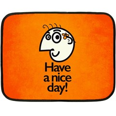 Have A Nice Day Happy Character Mini Fleece Blanket (Two Sided)