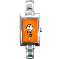 Have A Nice Day Happy Character Rectangular Italian Charm Watch