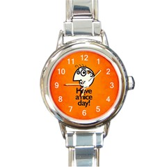 Have A Nice Day Happy Character Round Italian Charm Watch