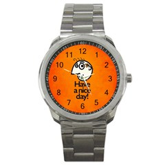 Have A Nice Day Happy Character Sport Metal Watch