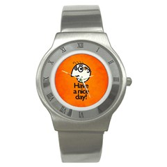 Have A Nice Day Happy Character Stainless Steel Watch (Slim)
