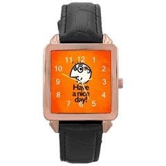 Have A Nice Day Happy Character Rose Gold Leather Watch