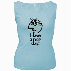 Have A Nice Day Happy Character Women s Tank Top (Baby Blue)