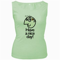 Have A Nice Day Happy Character Women s Tank Top (green)