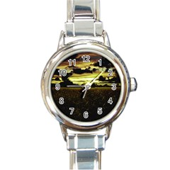 Dark Meadow Landscape  Round Italian Charm Watch