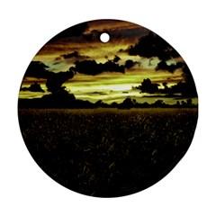 Dark Meadow Landscape  Round Ornament